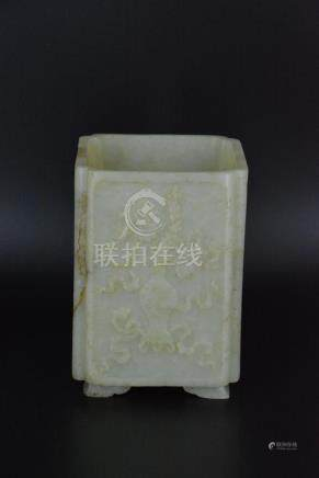 A CARVED WHITE JADE BRUSH POT, QING DYNASTY