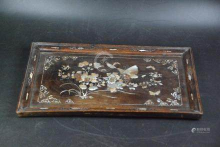 A MOTHER-OF-PEARL INLAID WOOD TEA -TRAY QING DYNASTY