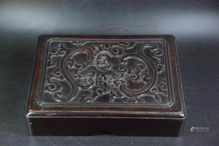 A ROSEWOOD 'DRAGON' BOX AND COVER, QING DYNASTY