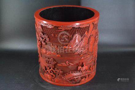 A CINNABAR LACQUERED BRUSH POT, QING DYNASTY