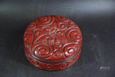 A CINNABAR LACQUERED BOX AND COVER, QING DYNASTY