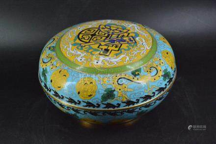 A CLOSONNE ENAMEL BOX AND COVER, QING DYNASTY