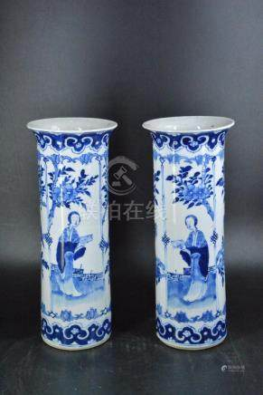 A PAIR OF BLUE AND WHITE VASES, KANGXI MARK, QING
