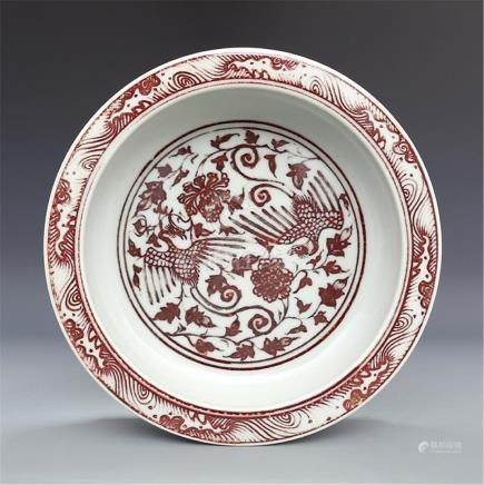 Ming Hongwu glaze red lotus pond double phoenix pattern