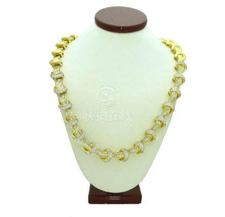 Estate approx 10TCW Diamond in 14K Yellow Gold Necklace