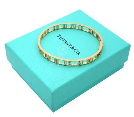 TIFFANY & Co 18k Gold Atlas Open Bangle Bracelet