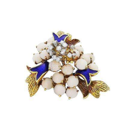 La Triomphe 18k Coral Cabochon Diamond & Blue Enamel