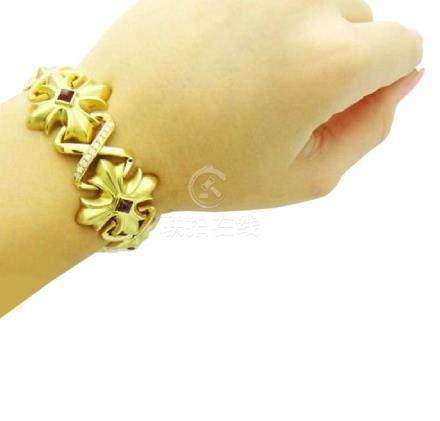 18k Gold 2.50 carat TCW VS F Diamond & Ruby Bracelet