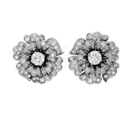 Estate Bulgari Plat 5TCW Diamond Cluster Earrings