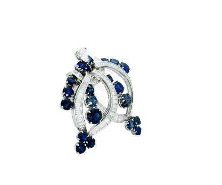 Estate Tiffany & Co Pt 950 Sapphire and Diamond Pin