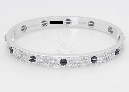 Cartier 18k Black Ceramic Diamond Paved Love Bracelet