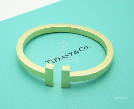 Tiffany & Co. 18k Yellow Gold T Square Cuff Bracelet