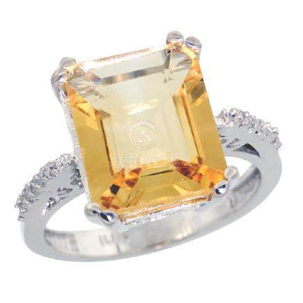 Natural 5.48 ctw Citrine & Diamond Engagement Ring 14K