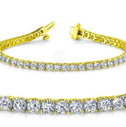 Natural 5ct VS-SI Diamond Tennis Bracelet 18K Yellow