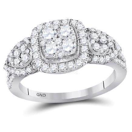 1.24 CTW Diamond Square Halo Cluster Ring 10KT White