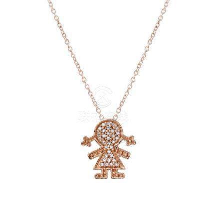 0.11 CTW Diamond Necklace 14K Rose Gold - REF-18W6H