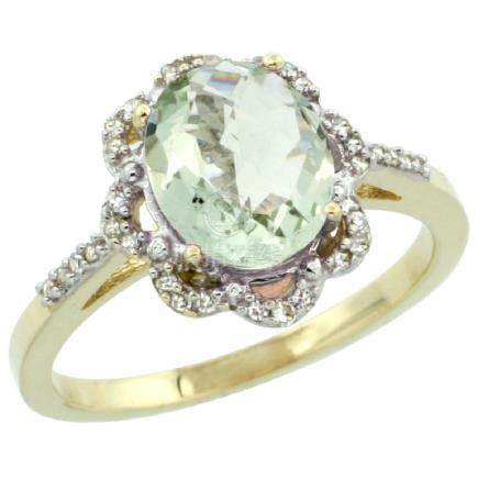 Natural 1.85 ctw Green-amethyst & Diamond Engagement