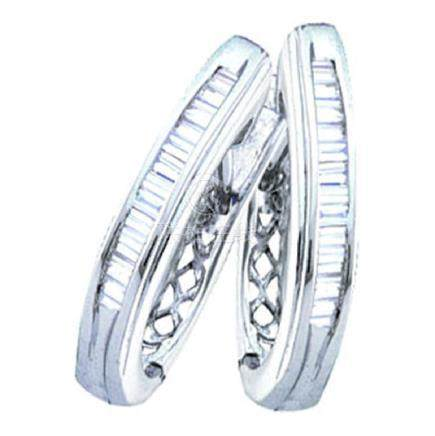 0.27 CTW Diamond Hoop Earrings 10KT White Gold -