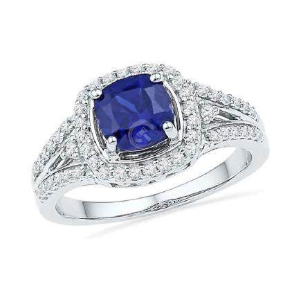 2.08 CTW Created Blue Sapphire Solitaire Ring 10KT