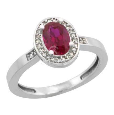 Natural 1.46 ctw Ruby & Diamond Engagement Ring 10K