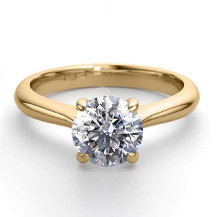 18K Yellow Gold 0.91 ctw Natural Diamond Solitaire Ring