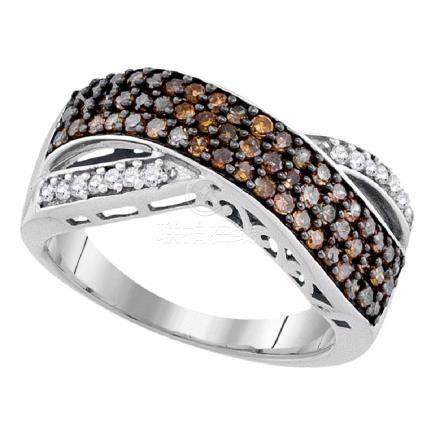 0.70 CTW Cognac-brown Color Diamond Crossover Ring 10KT