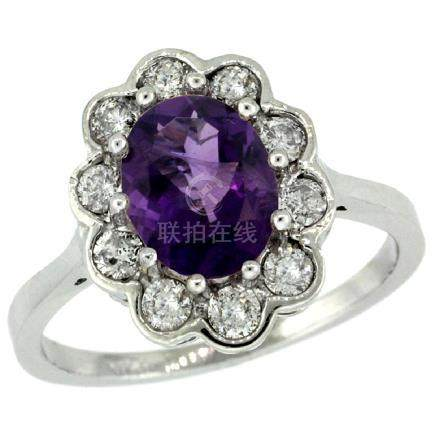 Natural 2.34 ctw Amethyst & Diamond Engagement Ring 14K