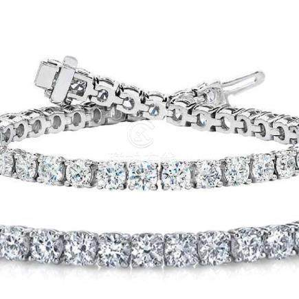 Natural 10.01ct VS-SI Diamond Tennis Bracelet 18K White
