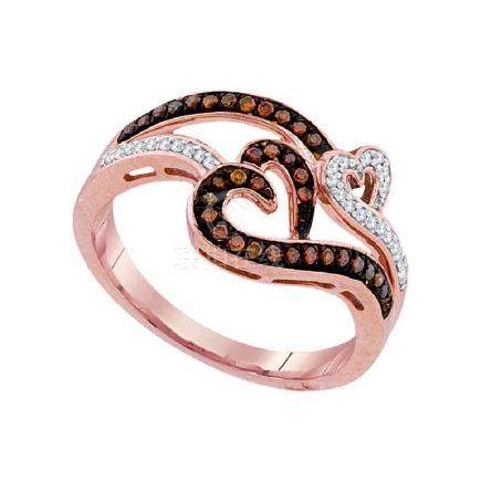 0.25 CTW Red Color Diamond Heart Love Ring 10KT Rose
