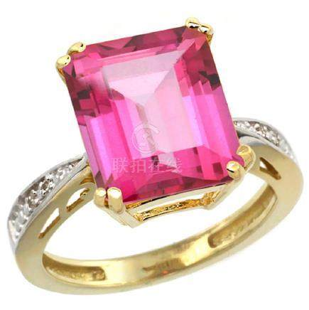 Natural 5.42 ctw Pink-topaz & Diamond Engagement Ring