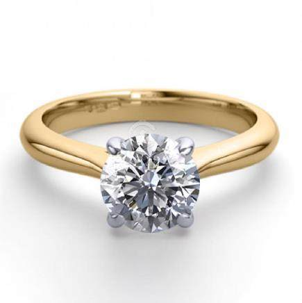 18K 2Tone Gold 0.91 ctw Natural Diamond Solitaire Ring
