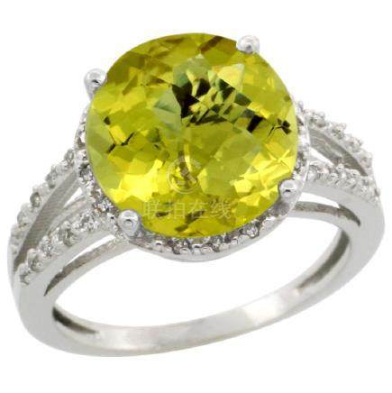 Natural 5.34 ctw Lemon-quartz & Diamond Engagement Ring