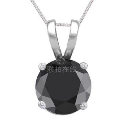 14K White Gold 0.62 ct Black Diamond Solitaire Necklace