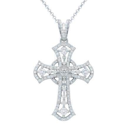 1.01 CTW Diamond Pendant 14K White Gold - REF-98F7N