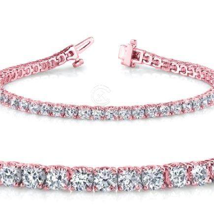 Natural 5.03ct VS-SI Diamond Tennis Bracelet 14K Rose