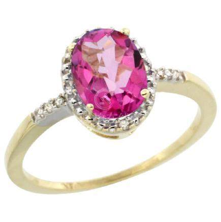 Natural 1.2 ctw Pink-topaz & Diamond Engagement Ring