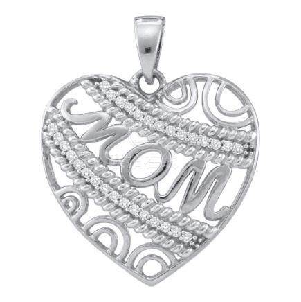 0.10 CTW Diamond Mom Mother Filigree Heart Pendant 10KT