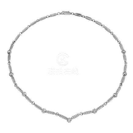 0.45 CTW Diamond Necklace 18K White Gold - REF-156N3Y