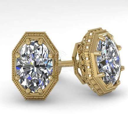 2 CTW VS/SI Oval Cut Diamond Stud Earrings 18K Deco