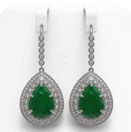 31.74 CTW Emerald & Diamond Earrings 14K White Gold -