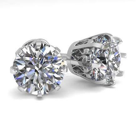 3 CTW VS/SI Diamond Stud Solitaire Earrings 14K Gold -