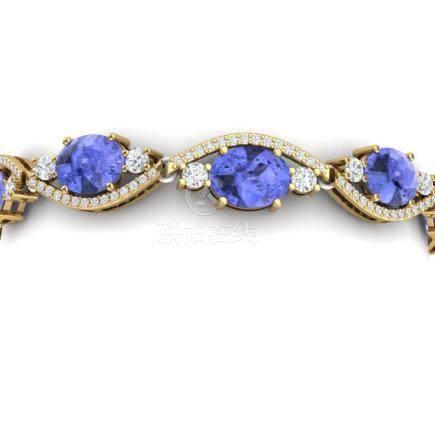 20.5 CTW Royalty Tanzanite & VS Diamond Bracelet 18K
