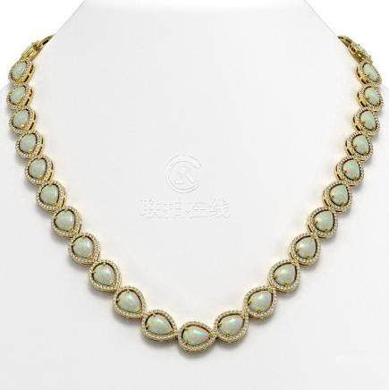 36.48 CTW Opal & Diamond Halo Necklace Yellow Gold -