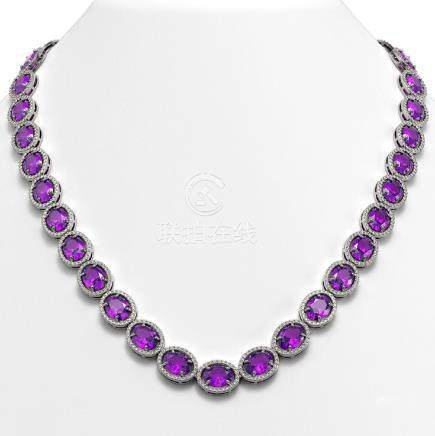 57.07 CTW Amethyst & Diamond Halo Necklace White Gold -