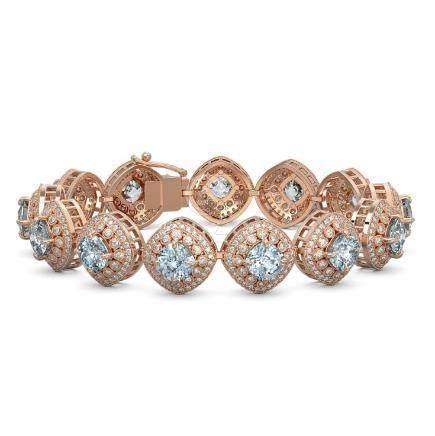 32.95 CTW Aquamarine & Diamond Bracelet 14K Rose Gold -
