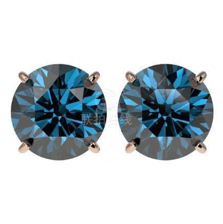 4 CTW Fancy Blue SI Diamond Stud Earrings Gold -