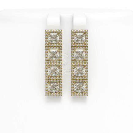 6.08 CTW Princess Diamond Earrings 18K Yellow Gold -