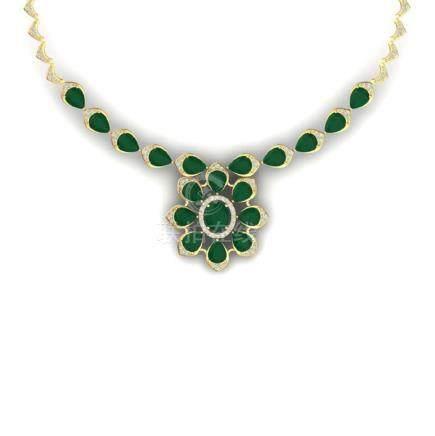 30.70 CTW Royalty Emerald & VS Diamond Necklace 18K