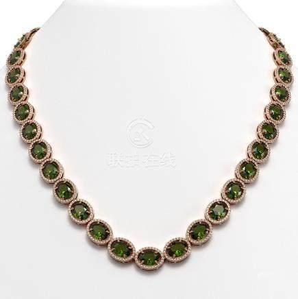 54.48 CTW Tourmaline & Diamond Halo Necklace Rose Gold