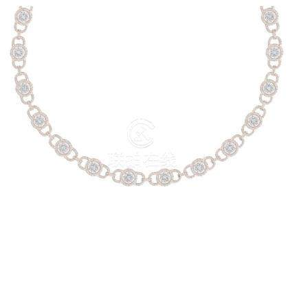 12 CTW SI/I Diamond Halo Necklace 18K Rose Gold -